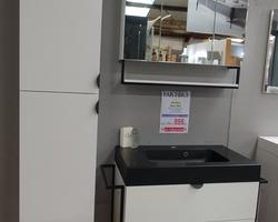 649,€  -- >FAKTORY Meuble 80x46cm + Lavabo ROKE Noir MAT + Armoire de toilette + Gde Colonne 40x156cm
