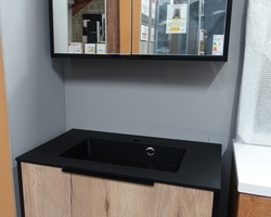 599,€ -- > DELPHA BLACK WOOD 80x46cm : MEUBLE + LAVABO FINITION GRANITE NOIR + ARM DE TOILETTE