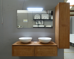 899,€ -- TECK DOUBLE -- MEUBLE 2 TIROIRS + 2x VASQUES A&T + COLONNE SOFT CLOSE + MIROIR & SPOT LED